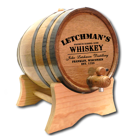 Laser Engraved American White Oak Mini Whiskey Barrel 1000OBC-P5