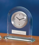Arched Acrylic Clock With Silver Trim 2080