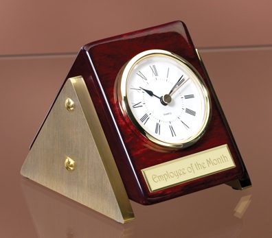 Triangular Rosewood Desk Clock 2167Clock