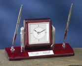 Engraved Dual Silver Pen Desk Clock Set