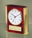 Rosewood Clock With Gold Pillars and Trim 2388