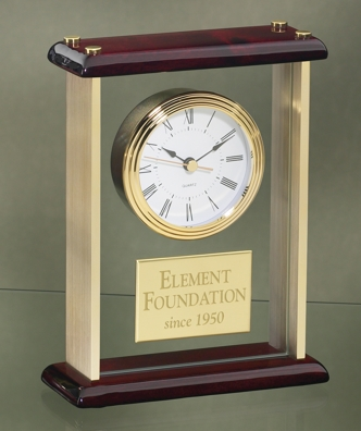 Gold Pillared Clock With Rosewood Base 3126G