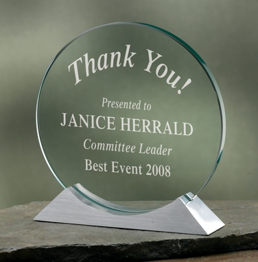 Engraved Circle Glass Award 3146C