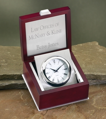 Engraved Silver Clock In Classic Rosewood Box 3369C