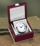 Engraved Silver Clock In Classic Rosewood Box