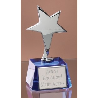 Silver Star Blue Crystal Trophy 3397AC