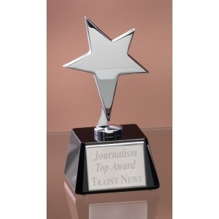 Silver Star Trophy On Black Glass Base