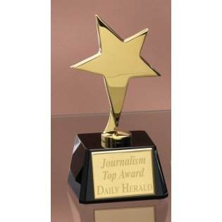 Gold Star Trophy On Black Glass Base 3397BG