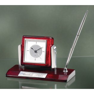 Rosewood and Silver Single Pen Desk Set 3603C