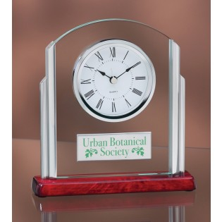 Rosewood Silver and Glass Desk Clock 3708RC