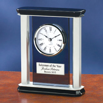 Silver Pillared Clock With Smoked Glass 3728BB