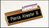 Engraved Walnut Desk Name Plate With Business Card Holder