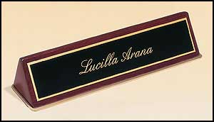 Engraved Rosewood Piano Finished Name Plate With Gold Trim 572