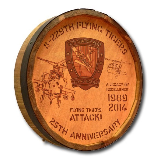 8-229th A R B Quarter Barrel Head Sign With Flying Tigers Attack 8-229-QB-FLYING-TIGERS