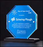 Octagon Blue Mirror Acrylic Award A6700
