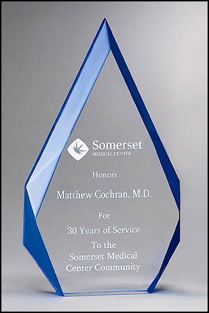 Contemporary Clear Blue Acrylic Award A6748