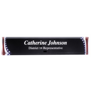 Engraved Stars and Stripes Acrylic Desk Name Plate ADW10SS