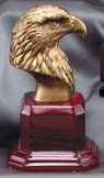 Gold Eagle Head Sculpture On Rosewood Base AE210