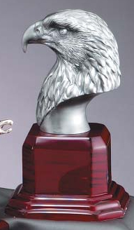 Silver Eagle Head Sculpture On Rosewood Base AE215