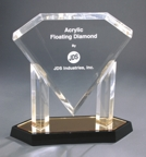 Gold Floating Diamond Acrylic Award AFD10GD
