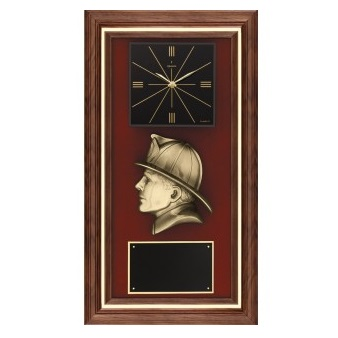 Bronze Firefighter Profile Walnut Clock AT35