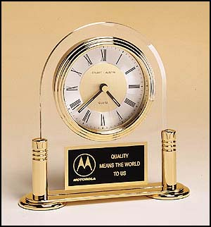 Arched Acrlyc Clock With Gold Accents BC18