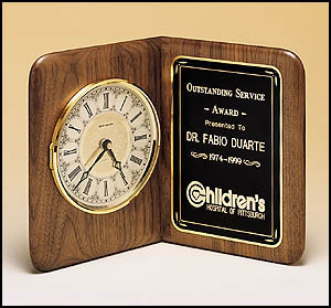 Walnut Book Clock and Plaque Combo BC8
