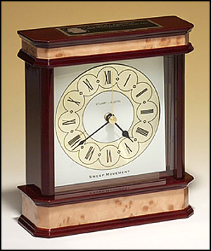 High Gloss Mahogany and Burl Finished Clock BC914