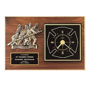 Firefighter Plaque With Clock and Bronze Casting BC96