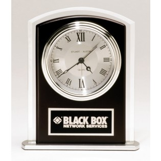 Black and Silver Glass Desk Clock BC965