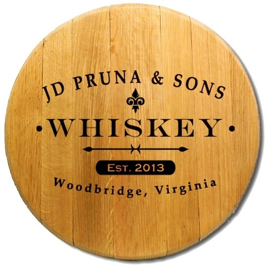 Personalized Oak Whiskey Barrel Head Sign BH424