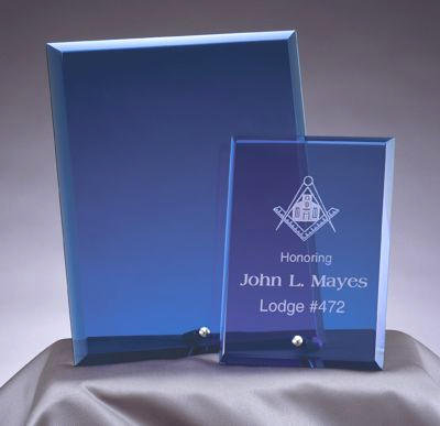 Stand Alone Blue Glass Award Plaques BL306