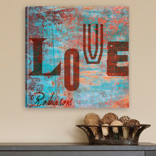Personalized Rustic Graffiti Family Love Canvas CA0001