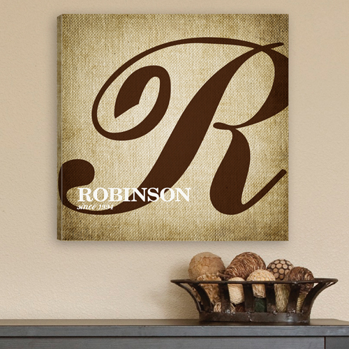 Custom Calligraphy Family Monogram Canvas Print CA0002