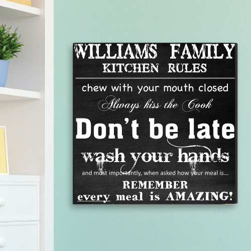 Personalized Kitchen Rules Chalky Canvas CA0004