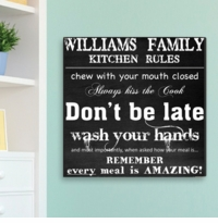 Personalized Family Kitchen Rules Chalk Like Canvas Print CA0004