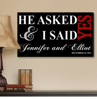Personalized Black I Said Yes Canvas Print CA0006