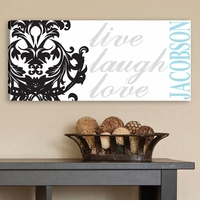 Custom Live Laugh Love Filigree Canvas Print CA0009