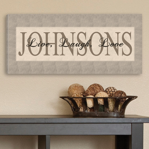 Personalized Toned Grey Live Laugh Love Canvas CA0010