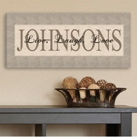 Personalized Toned Grey Live Laugh Love Canvas Print CA0010