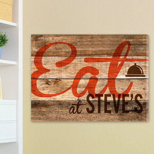 Personalized Rustic Wood Restaurant Canvas CA0015