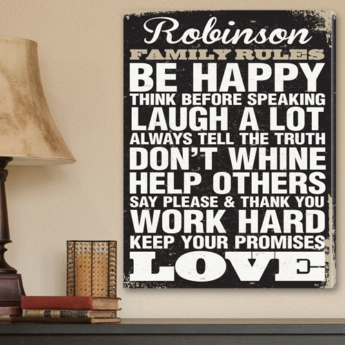 Custom Antique Family Rules Vintage Canvas CA0016