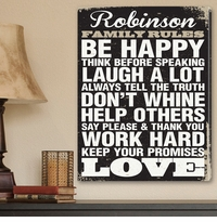 Custom Antique Family Rules Vintage Canvas Print CA0016