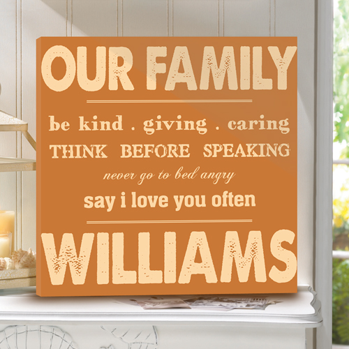 Personalized Rules Of Our Family Canvas Print CA0024