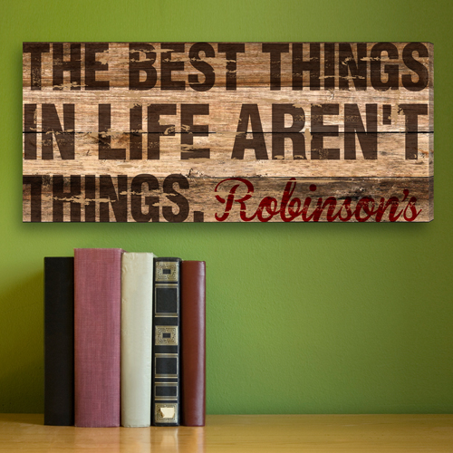 Personalized Best Things In Life Rustic Canvas CA0027