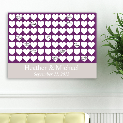 Custom Wedding Signatures Mat Canvas Purple Heartful Wishes