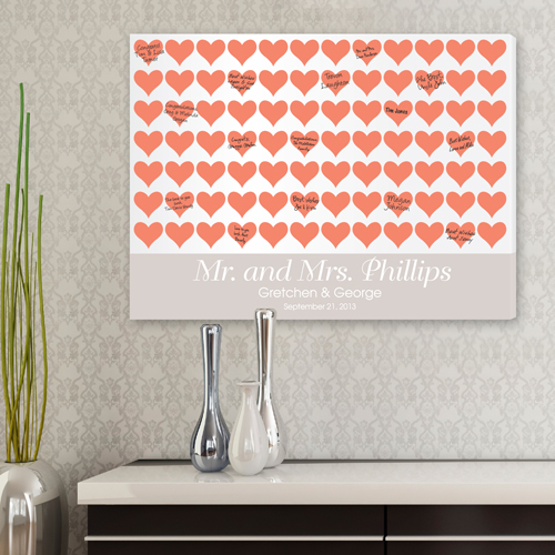 Personalized Wedding Signatures Canvas For The Love Of Hearts CA0042