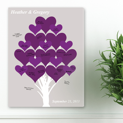 Personalized Wedding Signatures Canvas Purple Forever Hearts Tree CA0046