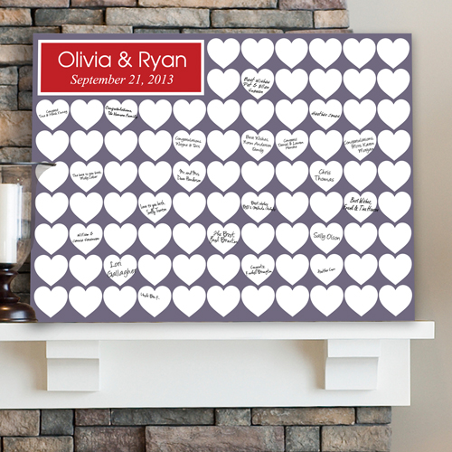Personalized Wedding Signatures Mat Canvas Heartful Memories CA0049