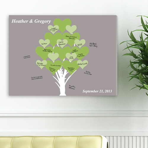 Personalized Wedding Signatures Canvas Blooming Hearts Tree CA0050